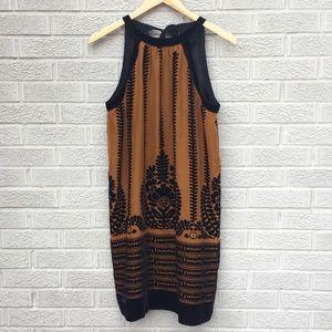 Max Studio Silk Velvet Print Burnout Dress
